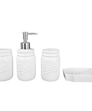 Home Basics Rustic Mason Jar 4 Piece Dcor Bathroom Accessories Set Includes Lotion Pump Dispenser Toothbrush Holder Cup Tumbler And Soap Dish White 0 4 300x360