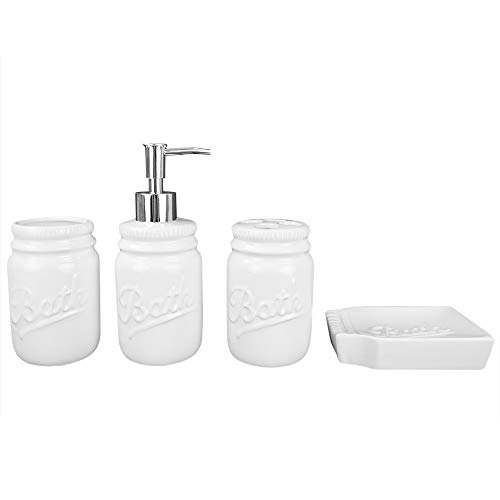 Home Basics Rustic Mason Jar 4 Piece Dcor Bathroom Accessories Set Includes Lotion Pump Dispenser Toothbrush Holder Cup Tumbler And Soap Dish White 0 4