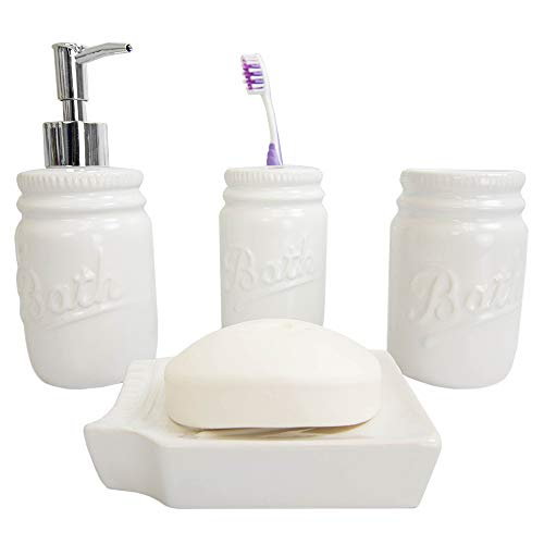Home Basics Rustic Mason Jar 4 Piece Dcor Bathroom Accessories Set Includes Lotion Pump Dispenser Toothbrush Holder Cup Tumbler And Soap Dish White 0