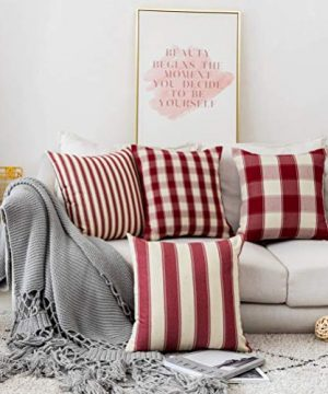 Home Brilliant Decorative Pillow Covers Red Christmas Throw Pillow Covers For Girls Room Linen Textured Farmhouse Patterned Cushion Covers For Holiday 18 X 18 Inch45cm Crimson Pack Of 5 0 0 300x360