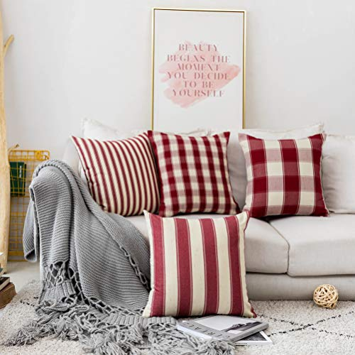 Home Brilliant Decorative Pillow Covers Red Christmas Throw Pillow Covers For Girls Room Linen Textured Farmhouse Patterned Cushion Covers For Holiday 18 X 18 Inch45cm Crimson Pack Of 5 0 0