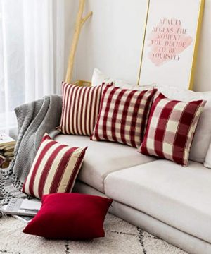 Home Brilliant Decorative Pillow Covers Red Christmas Throw Pillow Covers For Girls Room Linen Textured Farmhouse Patterned Cushion Covers For Holiday 18 X 18 Inch45cm Crimson Pack Of 5 0 1 300x360