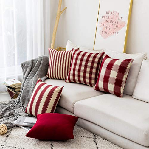 Home Brilliant Decorative Pillow Covers Red Christmas Throw Pillow Covers For Girls Room Linen Textured Farmhouse Patterned Cushion Covers For Holiday 18 X 18 Inch45cm Crimson Pack Of 5 0 1