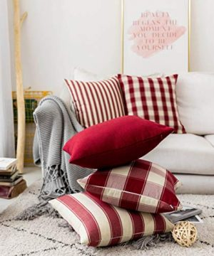 Home Brilliant Decorative Pillow Covers Red Christmas Throw Pillow Covers For Girls Room Linen Textured Farmhouse Patterned Cushion Covers For Holiday 18 X 18 Inch45cm Crimson Pack Of 5 0 2 300x360