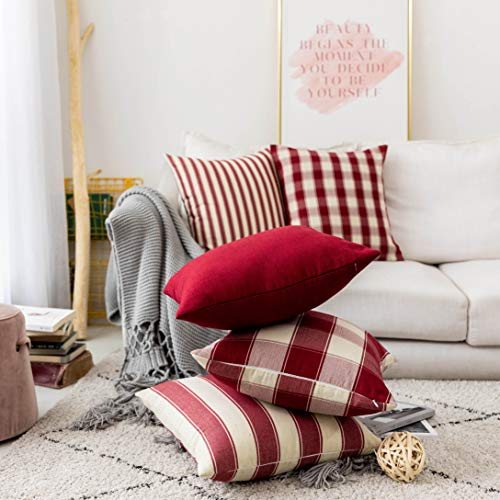 Home Brilliant Decorative Pillow Covers Red Christmas Throw Pillow Covers For Girls Room Linen Textured Farmhouse Patterned Cushion Covers For Holiday 18 X 18 Inch45cm Crimson Pack Of 5 0 2
