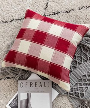 Home Brilliant Decorative Pillow Covers Red Christmas Throw Pillow Covers For Girls Room Linen Textured Farmhouse Patterned Cushion Covers For Holiday 18 X 18 Inch45cm Crimson Pack Of 5 0 4 300x360