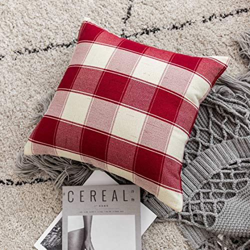 Home Brilliant Decorative Pillow Covers Red Christmas Throw Pillow Covers For Girls Room Linen Textured Farmhouse Patterned Cushion Covers For Holiday 18 X 18 Inch45cm Crimson Pack Of 5 0 4