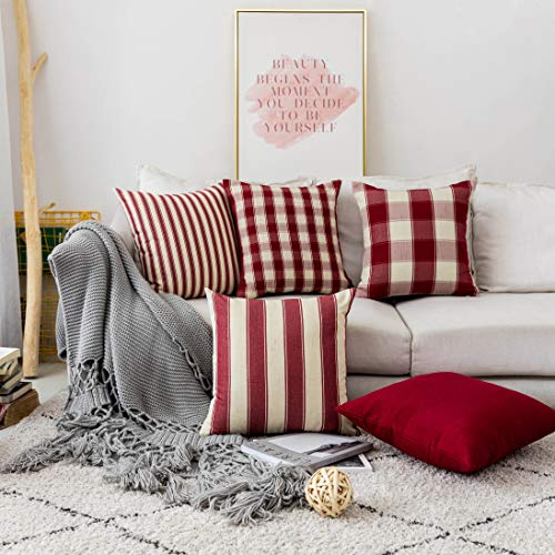 Home Brilliant Decorative Pillow Covers Red Christmas Throw Pillow Covers For Girls Room Linen Textured Farmhouse Patterned Cushion Covers For Holiday 18 X 18 Inch45cm Crimson Pack Of 5 0