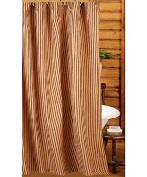 Home Collection By Raghu York Ticking Barn Red And Nutmeg Shower Curtain 72 By 72 0 0 300x360