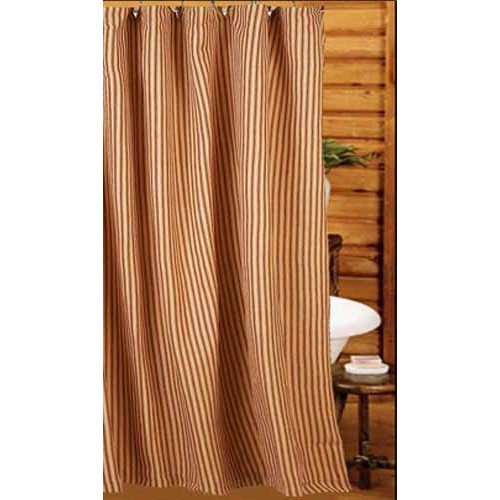 Home Collection By Raghu York Ticking Barn Red And Nutmeg Shower Curtain 72 By 72 0 0
