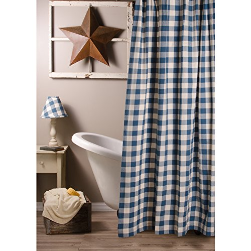 Home Collections By Raghu 72x72 Colonial Blue And Buttermilk Buffalo Check Shower Curtain 0 0