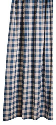 Home Collections By Raghu 72x72 Colonial Blue And Buttermilk Buffalo Check Shower Curtain 0