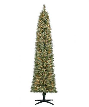 Home Heritage Stanley 7 Pencil Artificial Pine Slim Christmas Tree With Lights 0 300x360