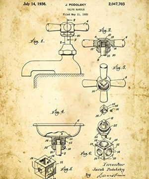 Homebody Accents Bath Faucet Patent Drawing Metal Sign Vintage Bath Bathroom Steampunk Industrial Dcor 0 300x360