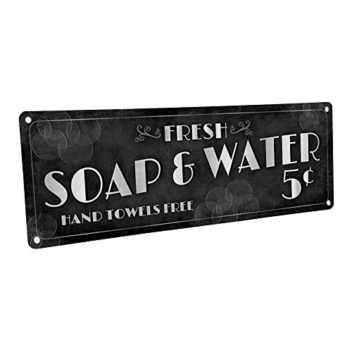 Homebody-Accents-Fresh-Soap-Water-Metal-Sign-4x12-Vintage-Retro-Art-Deco-Bath-Bathroom-Laundry-0