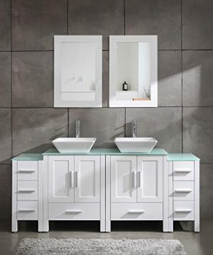Homecart 72 Double Sink Bathroom Vanity Cabinet Combo Glass Top White Wood W 2 Basin Faucets Mirrors And Drains 0 300x360
