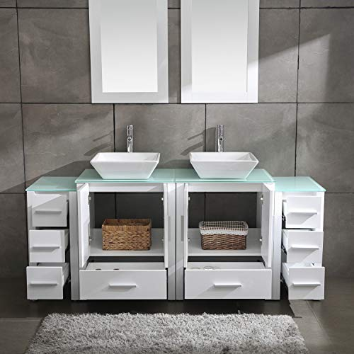 Homecart 72 Double Sink Bathroom Vanity Cabinet Combo Glass Top White Wood W 2 Basin Faucets Mirrors And Drains Farmhouse Goals