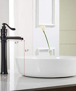 Homevacious Bathroom Vessel Sink Faucet Oil Rubbed Bronze Tall Bath Waterfall Lavatory Single Handle With Pop Up Drain Without Overflow One Hole Basin Mixer Tap Commercial Deck Mount Supply Hose 0 0 300x360