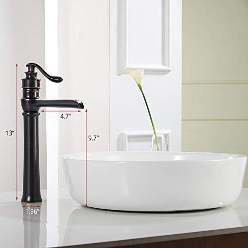 Homevacious Bathroom Vessel Sink Faucet Oil Rubbed Bronze Tall Bath Waterfall Lavatory Single Handle With Pop Up Drain Without Overflow One Hole Basin Mixer Tap Commercial Deck Mount Supply Hose 0 0
