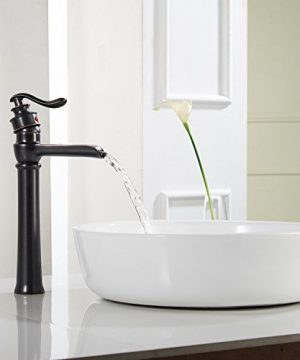 Homevacious Bathroom Vessel Sink Faucet Oil Rubbed Bronze Tall Bath Waterfall Lavatory Single Handle With Pop Up Drain Without Overflow One Hole Basin Mixer Tap Commercial Deck Mount Supply Hose 0 1 300x360
