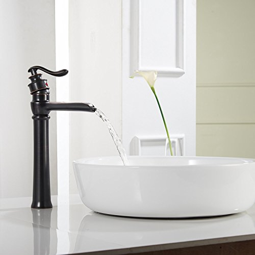 Homevacious Bathroom Vessel Sink Faucet Oil Rubbed Bronze Tall Bath Waterfall Lavatory Single Handle With Pop Up Drain Without Overflow One Hole Basin Mixer Tap Commercial Deck Mount Supply Hose 0 1
