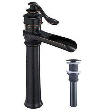 Homevacious Bathroom Vessel Sink Faucet Oil Rubbed Bronze Tall Bath Waterfall Lavatory Single Handle With Pop Up Drain Without Overflow One Hole Basin Mixer Tap Commercial Deck Mount Supply Hose 0 300x360