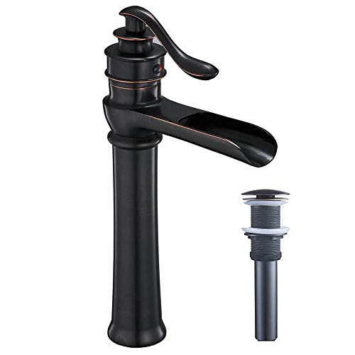 Homevacious Bathroom Vessel Sink Faucet Oil Rubbed Bronze Tall Bath Waterfall Lavatory Single Handle With Pop Up Drain Without Overflow One Hole Basin Mixer Tap Commercial Deck Mount Supply Hose 0