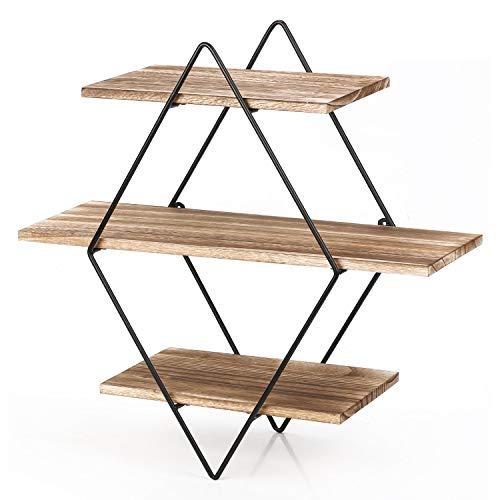 Homode Floating Shelves 3 Tier Geometric Diamond Wall Shelves Wood And Metal Art Rustic Farmhouse Decor 0 1
