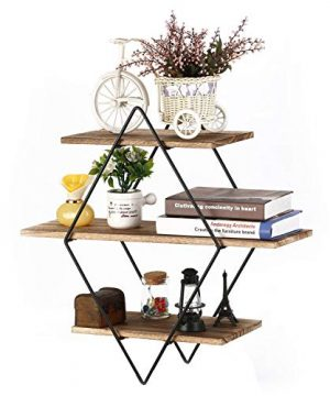 Homode Floating Shelves 3 Tier Geometric Diamond Wall Shelves Wood And Metal Art Rustic Farmhouse Decor 0 300x360