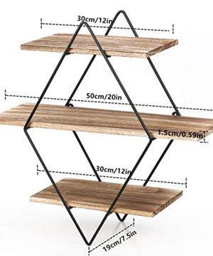 Homode Floating Shelves 3 Tier Geometric Diamond Wall Shelves Wood And Metal Art Rustic Farmhouse Decor 0 4 300x360