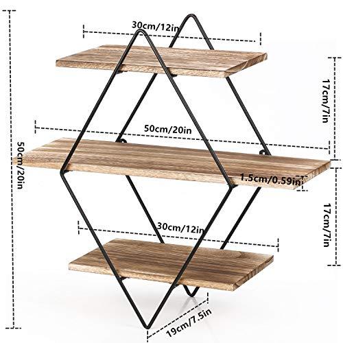Homode Floating Shelves 3 Tier Geometric Diamond Wall Shelves Wood And Metal Art Rustic Farmhouse Decor 0 4