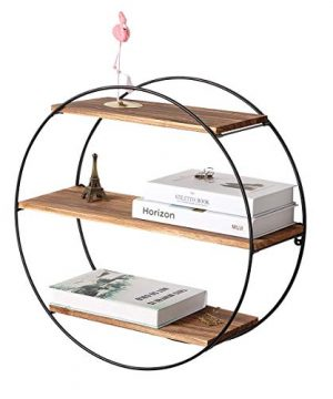 Homode Floating Shelves 3 Tier Geometric Round Wall Shelves Decorative Wood And Metal Hanging Shelf Rustic Farmhouse Decor 0 300x360