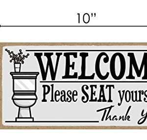 Honey Dew Gifts Welcome Please Seat Yourself 5 X 10 Inch Hanging Wall Art Decorative Wood Sign Home Bathroom Decor 0 0 300x286