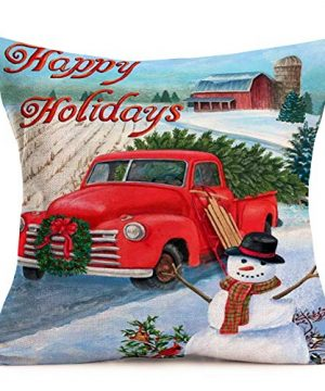 Hopyeer Christmas Decorations Pillow Covers Red Truck Car With Christmas Tree Snowflake Snowman Vintage Rustic Farmhouse Decor Cotton Linen Throw Pillow Case Cushion Cover 18x18 Set Of 4 CD Truck 0 0 300x360