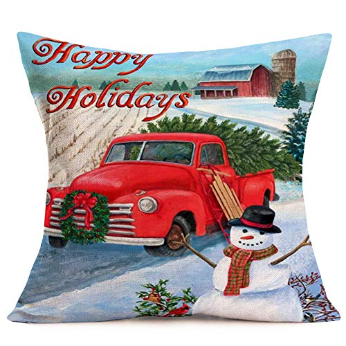 Hopyeer Christmas Decorations Pillow Covers Red Truck Car With Christmas Tree Snowflake Snowman Vintage Rustic Farmhouse Decor Cotton Linen Throw Pillow Case Cushion Cover 18x18 Set Of 4 CD Truck 0 0
