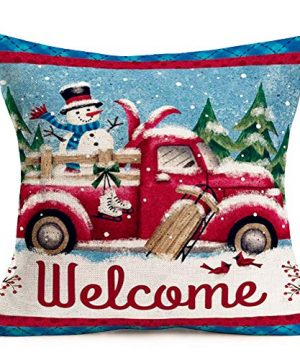 Hopyeer Christmas Decorations Pillow Covers Red Truck Car With Christmas Tree Snowflake Snowman Vintage Rustic Farmhouse Decor Cotton Linen Throw Pillow Case Cushion Cover 18x18 Set Of 4 CD Truck 0 1 300x360