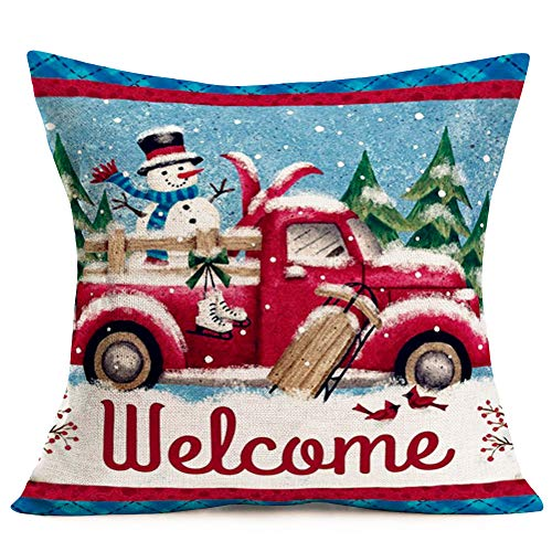 Hopyeer Christmas Decorations Pillow Covers Red Truck Car With Christmas Tree Snowflake Snowman Vintage Rustic Farmhouse Decor Cotton Linen Throw Pillow Case Cushion Cover 18x18 Set Of 4 CD Truck 0 1
