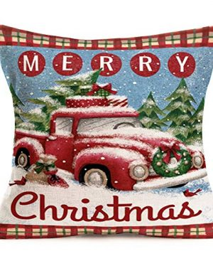 Hopyeer Christmas Decorations Pillow Covers Red Truck Car With Christmas Tree Snowflake Snowman Vintage Rustic Farmhouse Decor Cotton Linen Throw Pillow Case Cushion Cover 18x18 Set Of 4 CD Truck 0 2 300x360