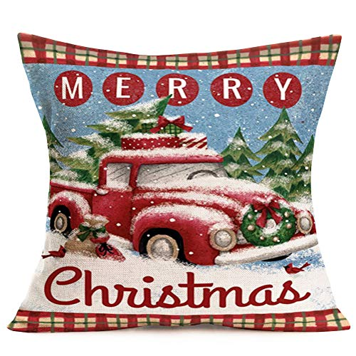 Hopyeer Christmas Decorations Pillow Covers Red Truck Car With Christmas Tree Snowflake Snowman Vintage Rustic Farmhouse Decor Cotton Linen Throw Pillow Case Cushion Cover 18x18 Set Of 4 CD Truck 0 2