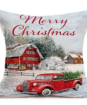 Hopyeer Christmas Decorations Pillow Covers Red Truck Car With Christmas Tree Snowflake Snowman Vintage Rustic Farmhouse Decor Cotton Linen Throw Pillow Case Cushion Cover 18x18 Set Of 4 CD Truck 0 3 300x360
