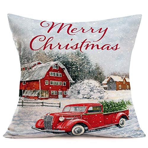 Hopyeer Christmas Decorations Pillow Covers Red Truck Car With Christmas Tree Snowflake Snowman Vintage Rustic Farmhouse Decor Cotton Linen Throw Pillow Case Cushion Cover 18x18 Set Of 4 CD Truck 0 3