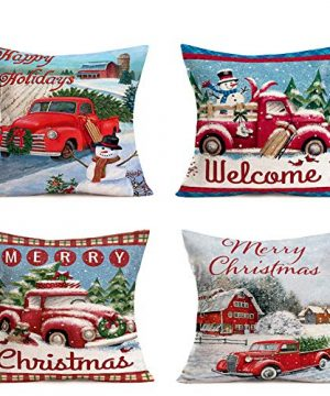 Hopyeer Christmas Decorations Pillow Covers Red Truck Car With Christmas Tree Snowflake Snowman Vintage Rustic Farmhouse Decor Cotton Linen Throw Pillow Case Cushion Cover 18x18 Set Of 4 CD Truck 0 300x360