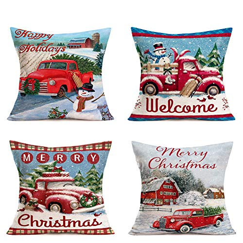 Hopyeer Christmas Decorations Pillow Covers Red Truck Car With Christmas Tree Snowflake Snowman Vintage Rustic Farmhouse Decor Cotton Linen Throw Pillow Case Cushion Cover 18x18 Set Of 4 CD Truck 0