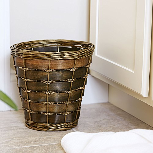 Household Essentials ML 2215 Small Decorative Wicker Waste Basket Haven Willow And Poplar Natural Dark Brown 0 0