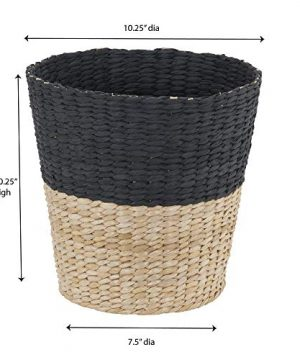 Household Essentials ML 6624 Wicker Waste Bin Small Trash Can For Bathroom And Office Brown And Charcoal 0 3 300x360