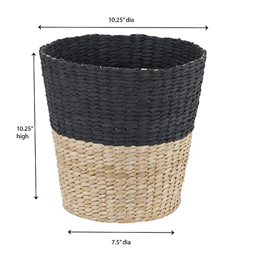 Household Essentials ML 6624 Wicker Waste Bin Small Trash Can For Bathroom And Office Brown And Charcoal 0 3