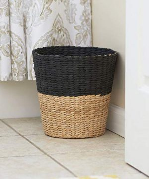 Household Essentials ML 6624 Wicker Waste Bin Small Trash Can For Bathroom And Office Brown And Charcoal 0 4 300x360