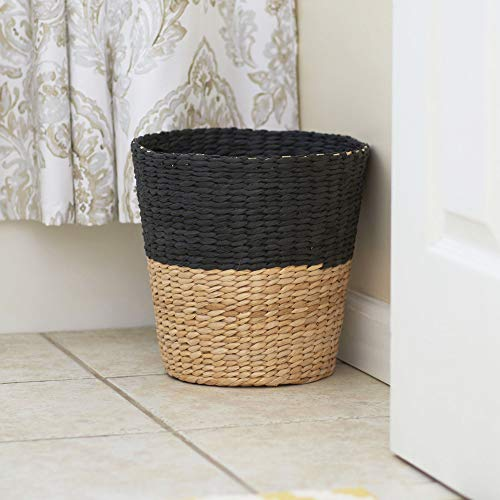 Household Essentials ML 6624 Wicker Waste Bin Small Trash Can For Bathroom And Office Brown And Charcoal 0 4