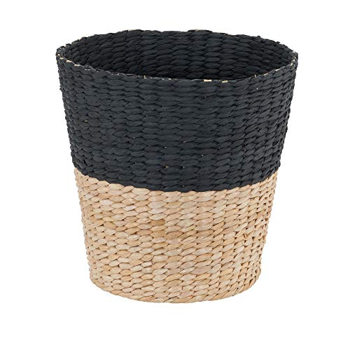 Household Essentials ML 6624 Wicker Waste Bin Small Trash Can For Bathroom And Office Brown And Charcoal 0
