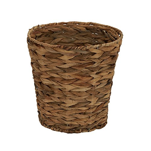 Household Essentials Woven Water Hyacinth Wicker Waste Basket Natural 0